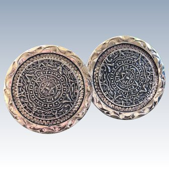 Early Vintage Mexico Silver Mayan Sun Calendar Tribal Cufflinks