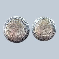 Vintage Early Taxco Mexico Sterling Silver Sun God Cufflinks