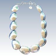 Vintage Silver Mexico DEII Modernist Petal Link Necklace