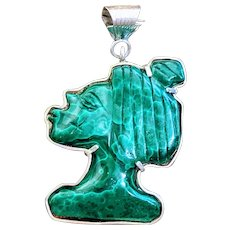 Huge Sterling Silver Tribal Carved Malachite African Indigenous Pendant