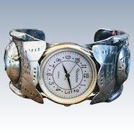 Vintage Sleeping Beauty Turquoise Navajo Sterling Watch Cuff Bracelet