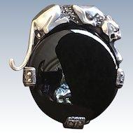 Sterling Silver Black Onyx Marcasite Panther Vintage Brooch