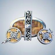 Ornate Silver Woven Rattan Asian Wicker Pendant & Earring Set