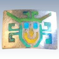 Modernist Graziella Laffi Peru Silver Enamel Incan God Abstract Pin