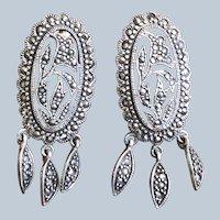 Vintage Marcasite Silver Chandelier Earring ~ Pierced