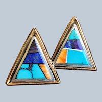 Navajo Irv Monte Southwestern Stone Inlay Native American Indian Earrings