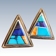 Navajo Irv Monte Stone Inlay Native American Indian Earrings