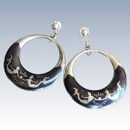 Early Siam Silver Dancing Mermaid Goddess Hoop Earrings ~ Niello Enamel
