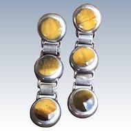 Vintage Mexican 950 Silver Modernist Tigers Eye Disk Link Dangle Earrings TM-181