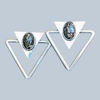 Modernist Silver Leopard Jasper Triangular Mexican Earrings