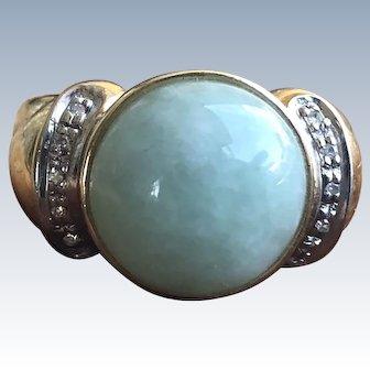 14K Vintage Apple Green Jade Diamond Cabochon Gold Ring