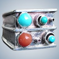 Mid Century Sterling Silver Turquoise Coral Modernist Ring Spiky Sputnik Inspired