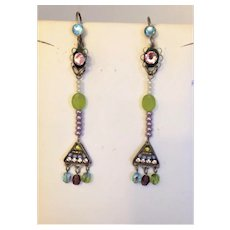 Vintage ,Antique Style Multi Colors Cross   Earrings, by Adaya. Israeli Jewelry.