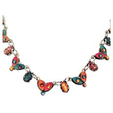 Vintage ,Antique Style Multi Colors Necklace, by Adaya. Israeli Jewelry.