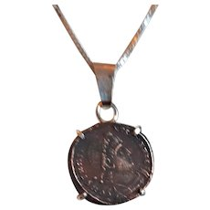 Silver necklace with Antique Roman coin from Jerusalem  .
