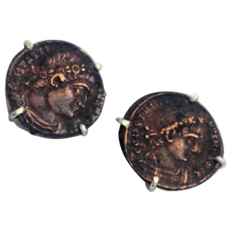 Silver stud earrings set with antique Roman coins