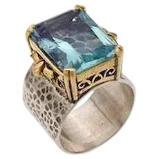The Ring of Ruth. Sterling Silver and 14K gold. Israel Jewelry.