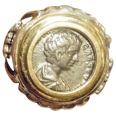 Silver+Gold Ring with Ancient Roman coin from Jerusalem .