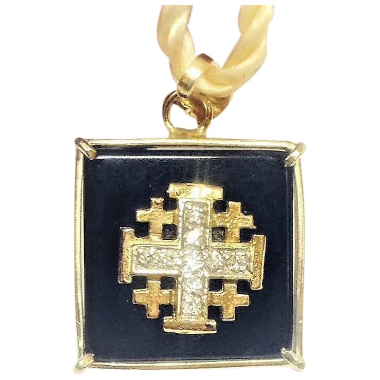 Vintage 14k gold jerusalem cross pendant with onix and diamonds vintage 14k gold jerusalem cross pendant with onix and diamonds israeli jewelry aloadofball Images