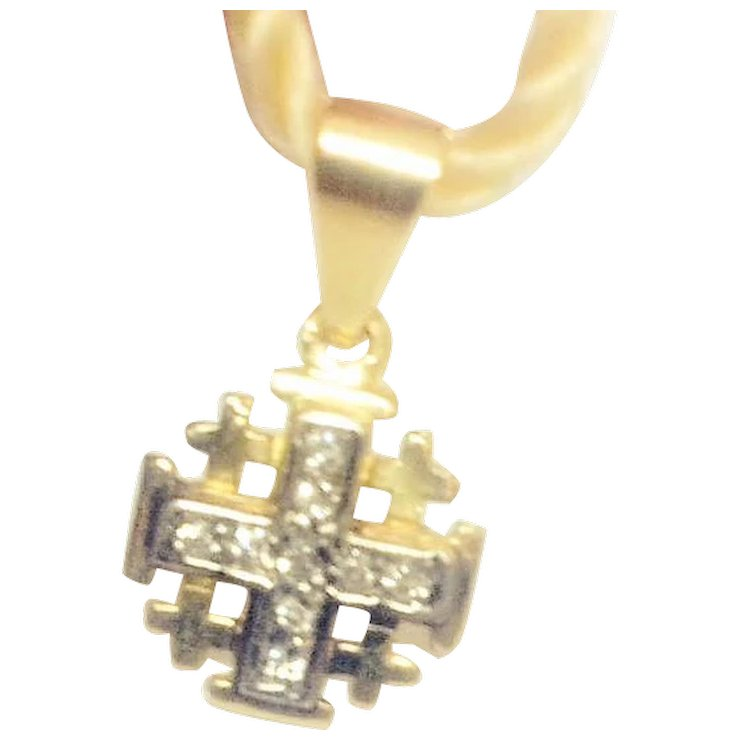 Vintage 14k gold jerusalem cross pendant with diamonds israeli vintage 14k gold jerusalem cross pendant with diamonds israeli jewelry aloadofball Images