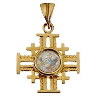 14K gold Jerusalem cross with Roman Glass