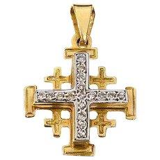18K Gold Jerusalem cross set with Diamond