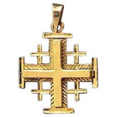 18K Gold Jerusalem cross two layers, wheat design .Israeli Jewelry.