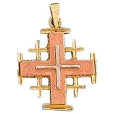 18K Gold, 3 tones Jerusalem cross Pendant. Israeli Jewelry.