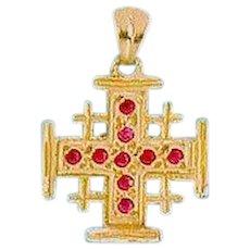 14K Gold Jerusalem Cross set with a Rubies .Israeli jewelry.
