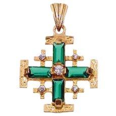 14k Jerusalem cross set with  Swarovsky crystals.Israel Jewelry.