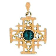 14K Gold Jerusalem Cross with King Solomon's stone