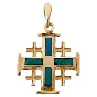 14K Gold Jerusalem Cross with King Solomon's stone-Modern design
