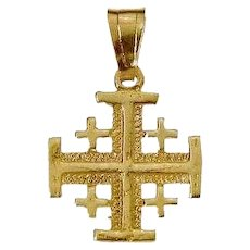 "14K Gold Jerusalem Cross 3/4"" high. Israel Jewelry."