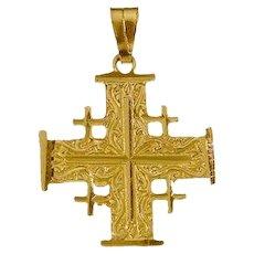 """14k Gold Jerusalem cross 1"""" high"""