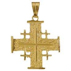 "14K Gold Jerusalem Cross 1.25"" high. Israel Jewelry."