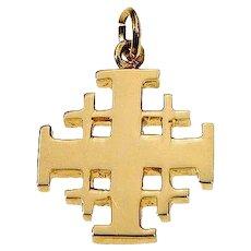 14K Gold Jerusalem Cross  Shiny finish Heavy weight. Israel Jewelry.