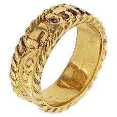 "14 k gold Hebrew wedding ring ""Oriental Design"" Israeli Jewelry."