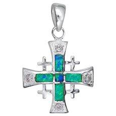 Sterling Silver Jerusalem cross pendant set with Blue opal , Israeli Jewelry.