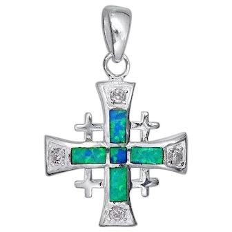 Sterling Silver Jerusalem cross pendant set with Blue opal , Israeli Jewelry.