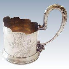 Rare Antique  Silver 875 Tea Glass Holder with Jewish Motives