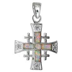 Sterling silver Jerusalem cross set with white opal. Israeli Jewelry