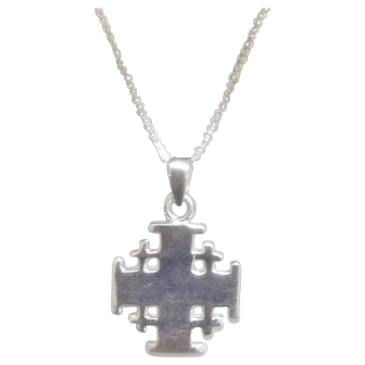 "Sterling Silver Jerusalem Cross Necklace, Plain Finish, Heavy weight, 1.2"" high."