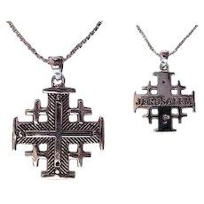 Sterling Silver Jerusalem Cross Necklace, Heavy weight. Israel Jewelry.