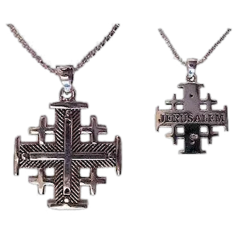 Sterling Silver Jerusalem Cross Necklace, Heavy weight. Israel Jewelry.