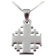 "Sterling Silver Jerusalem Cross Necklace, Plain Finish, Heavy weight, 1"" high."