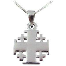 "Sterling Silver Jerusalem Cross Necklace, Plain Finish, Heavy weight, 1"" high."