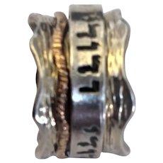 Silver & 9K Gold Spinner Beloved Ring size 8.5. $129