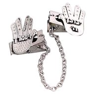 """Sterling Silver Talith Clips  """"The Blessing hand"""" Hands Design . Bar Mitzva. Jewish Jewelry."""