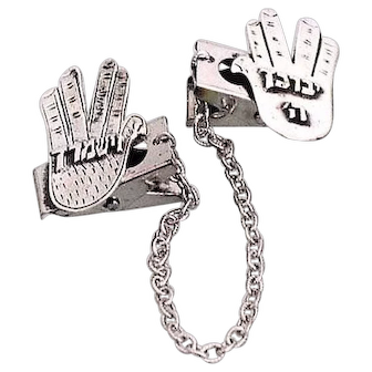 "Sterling Silver Talith Clips  ""The Blessing hand"" Hands Design . Bar Mitzva. Jewish Jewelry."