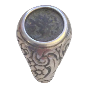 Vintage Silver ring with Widow's Mite coin.